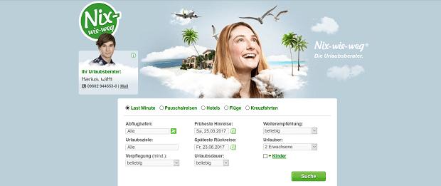 Nix wie weg - günstige Reisen auf dem Onlineportal von nix-wie-weg.de
